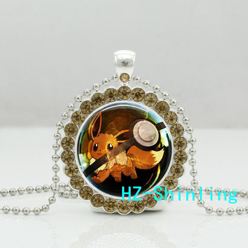 New Eevee Pokeball Crystal Necklace Glass Pokemon Pendant Trendy font b Anime b font Jewelry Gifts