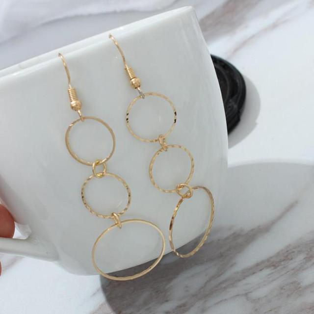 Geometric Tandem Size Circle Irregular Fashion Tassel Earrings, Golden Multi-cir