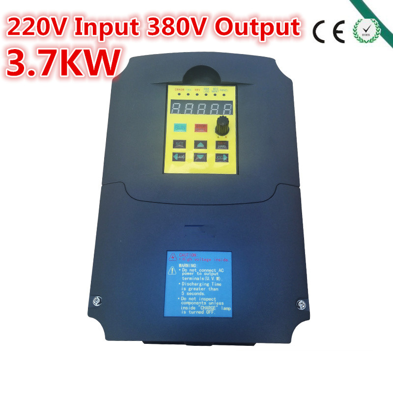 Inverter,3700watt (3.7 KW) , input 220V output 380V Variable Frequency Drive for 3.7KW Motor Speed Control, Drive Capacity: 7KVA inverter 1500 watt 1 5 kw 1000hz 220v input 75v output inverter vfd for 1 5kw motor speed control drive capacity 2 8kva