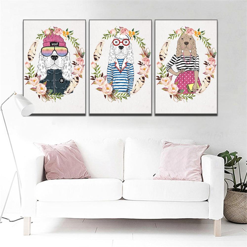 Unframed 3 HD Canvas Prints Creative Art Animal Decorative Art Painting Wreath Cartoon Dog Printing For Living Room Mural