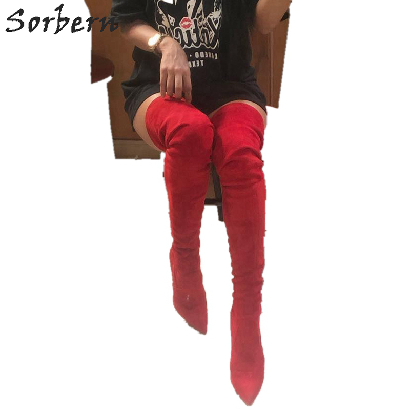 Sorbern Sexy Red Pointed Toe High Heel Boots Women Stilettos 12Cm Big Size Mid Thigh High Boots Over The Knee More ColorsSorbern Sexy Red Pointed Toe High Heel Boots Women Stilettos 12Cm Big Size Mid Thigh High Boots Over The Knee More Colors