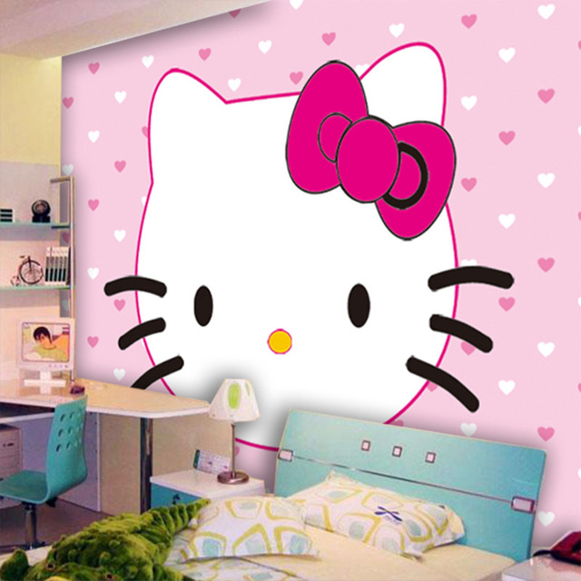 Eco Friendly 3d Huge Mural Hello Kitty Background For Kids Room