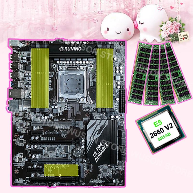 8 slots de RAM carte mère marque Runing Super ATX X79 carte mère avec CPU Intel Xeon E5 2660 V2 2.2 ghz RAM 4*16g 1866 mhz DDR3 RECC