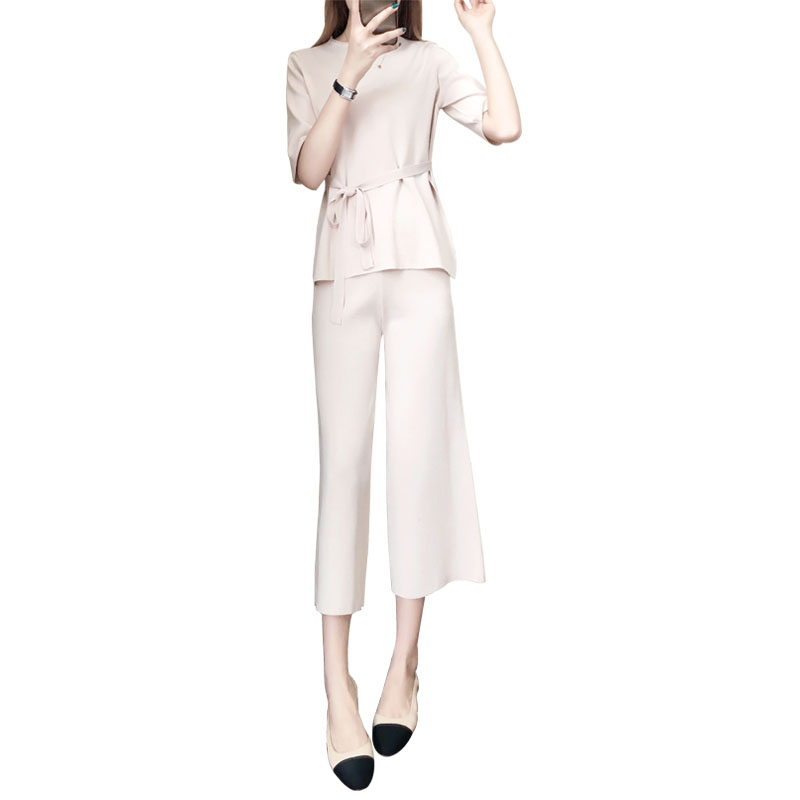 Knitted Two Piece Sets Women Short Sleeve Lace-up Tunics And Wide Leg Pants Sets Suits Office Elegant Korean Casual Women's Sets 33