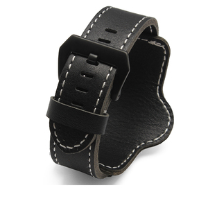 Image 3 - 20mm 22mm 24mm 26mm Quality Cuff Bracelet watch Strap Leather Watchband Black Brown Decorative Style Belt For Mens