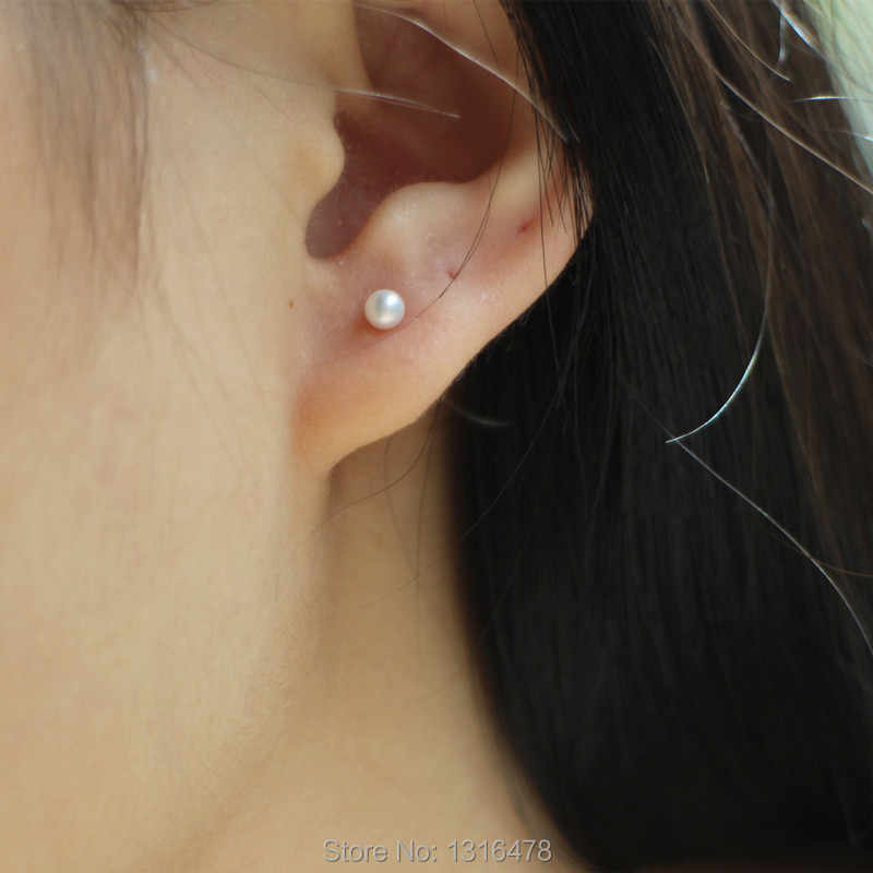 The new Mini 925 Silver 3mm/5mm natural white freshwater pearl earrings small multi-pierced ear bone ear acupuncture