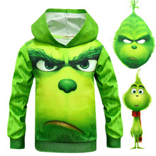 лучшая цена Hot Movie How Grinch Stole The Christmas Hoodies Sweatshirt Mask + Scarf The Grinch 3D Full Face Printed Kids Clothes Green Tops
