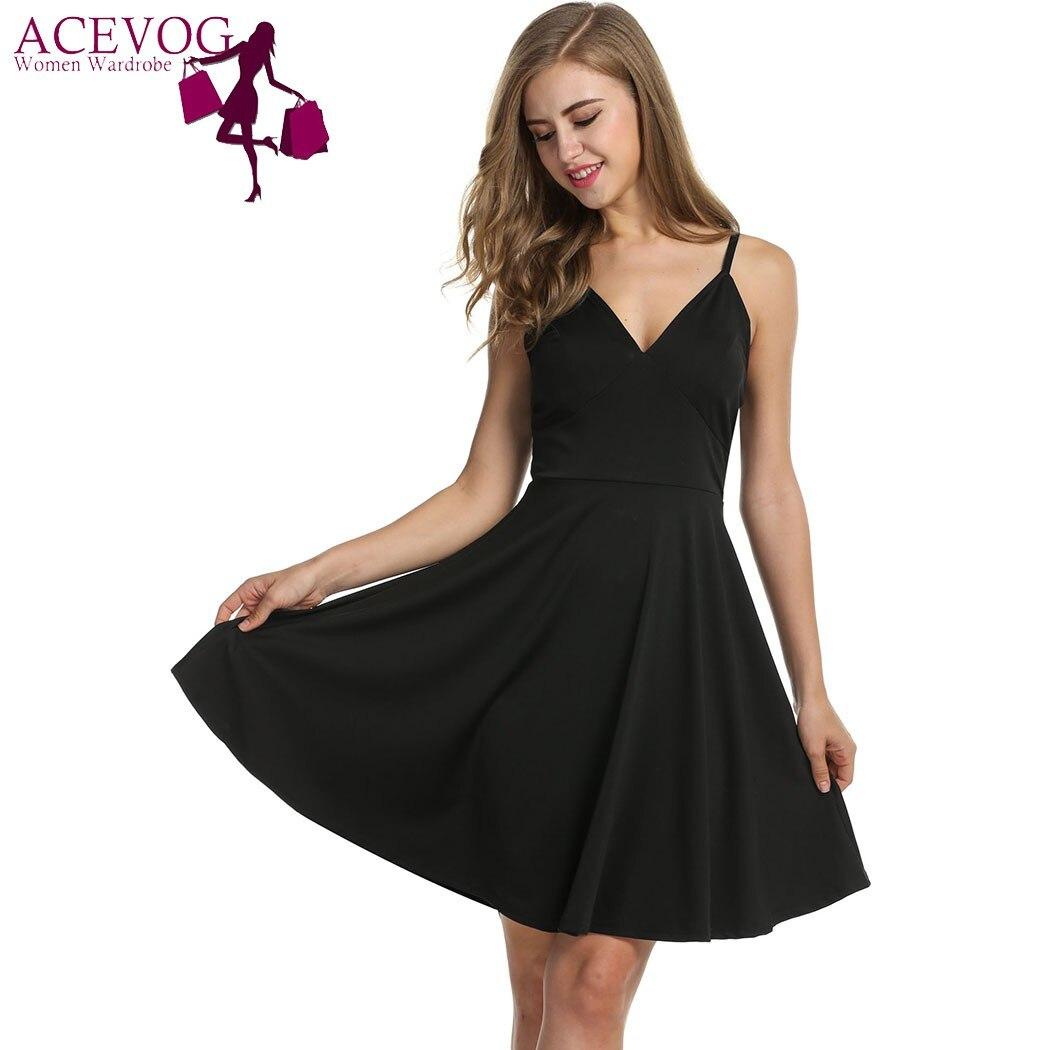 2018 ACEVOG  Women Strap Pleated Dress High Waist V-neck Solid Spring Casual Party Knee Slim DressVestido de mujer  Robe de
