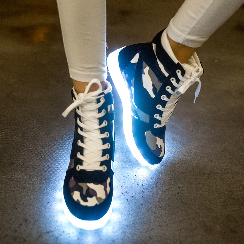 2017 new camouflage high help LED colorful men and women flashing shoes fluorescent luminous shoes USB light shoes