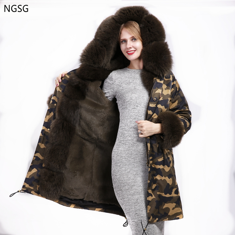 Women Luxury Raccoon fur Collar Cuff Hooded Camouflage Army Green Coat Detachable Rabbit Liner Parkas Outwear Long Winter Jacket 2017 winter new clothes to overcome the coat of women in the long reed rabbit hair fur fur coat fox raccoon fur collar