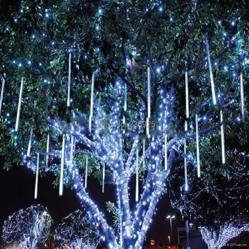 10pcs/lot 60cmMeteor Shower LED String Lights Outdoor Decorations Holiday Twinkle Park Garden Waterproof Fairy Lights H-35