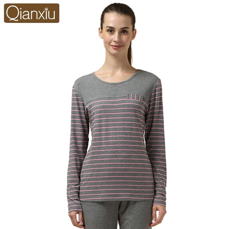 Qianxiu stripe Pajamas for women Hot Slaes Sleep&Lo