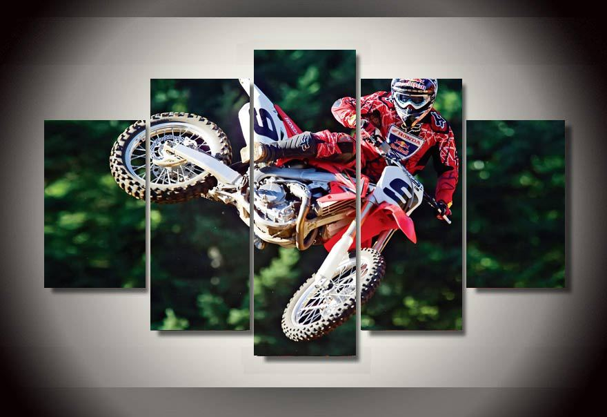 Captivating HD Printed Motocross Group Painting Wall Art Canvas Print Room Decor Print  Poster Picture Canvas Free