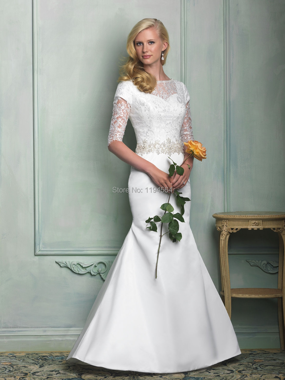 modest high back wedding dresses 2015 mermaid bridal gowns 34 sleeve sheer lace vestidos