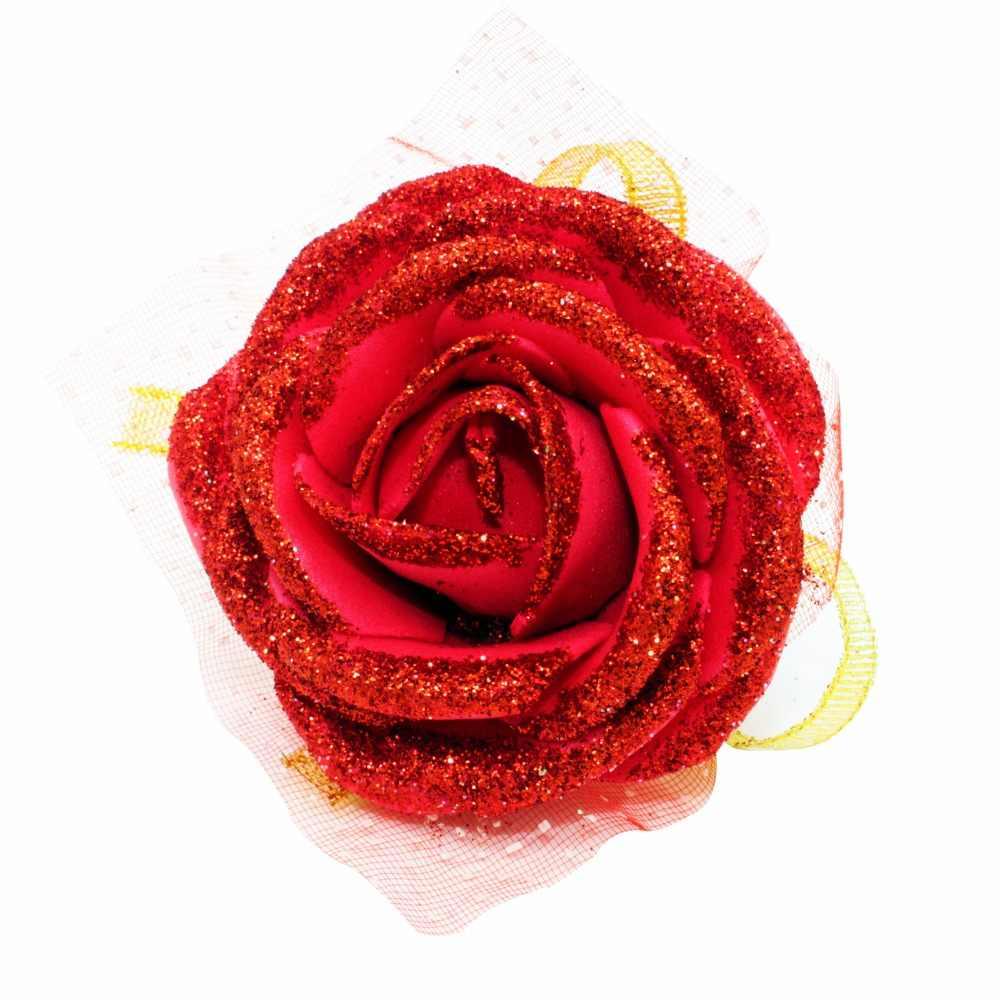 30ピースカラフルな人工花嫁の花シルクローズ花嫁介添人の手首の花