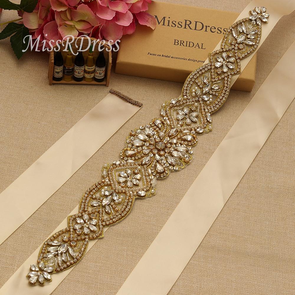 MissRDress schitterende bruidsjurk riem goud kristal strass linten - Bruiloft accessoires - Foto 2