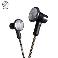 BGVP DX3 Metal Earphone HIFI Flat Earplug With Upgraded Copper Silver Plated Cable With Mic No
