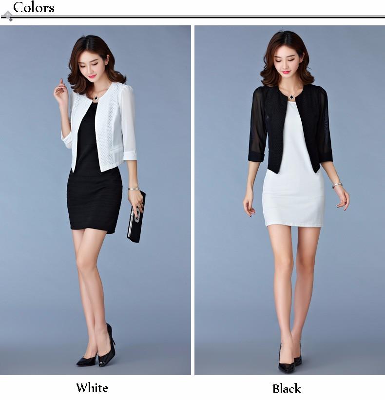 Women Black White Gauze Jacket Summer 2016 Chiffon Cardigan Sexy 34 Sleeve Plus Size Slim Jackets Office Lady Coat Tops A385  a