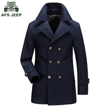 2018 Free Shipping AFS JEEP Brand Men's Winter Long Cotton Wollen Coat Warm Loose Wool Mens Windbreaker Jacket D180(China)
