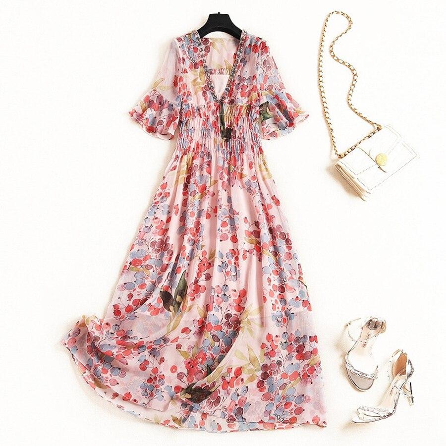 VERDEJULIAY luxe perles robe 2019 été mode femmes col en v Dot imprimer diamants pailleté mi-mollet élégant longue Boho robe
