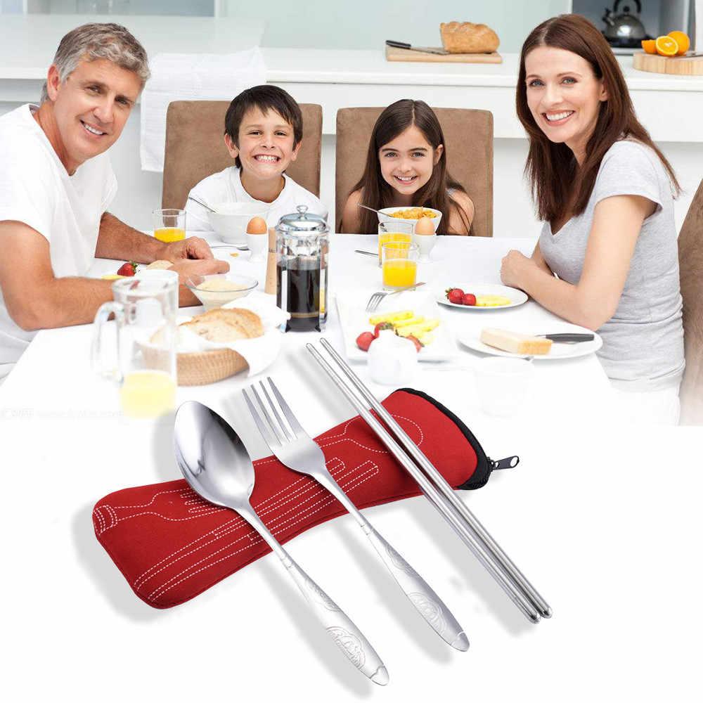 3 Pcs شوكة فولاذية غير قابلة للصدأ ملعقة عيدان السفر أدوات مائدة للتخييم متعددة الوظائف لوازم المطبخ ملعقة للقهوة مع كليب