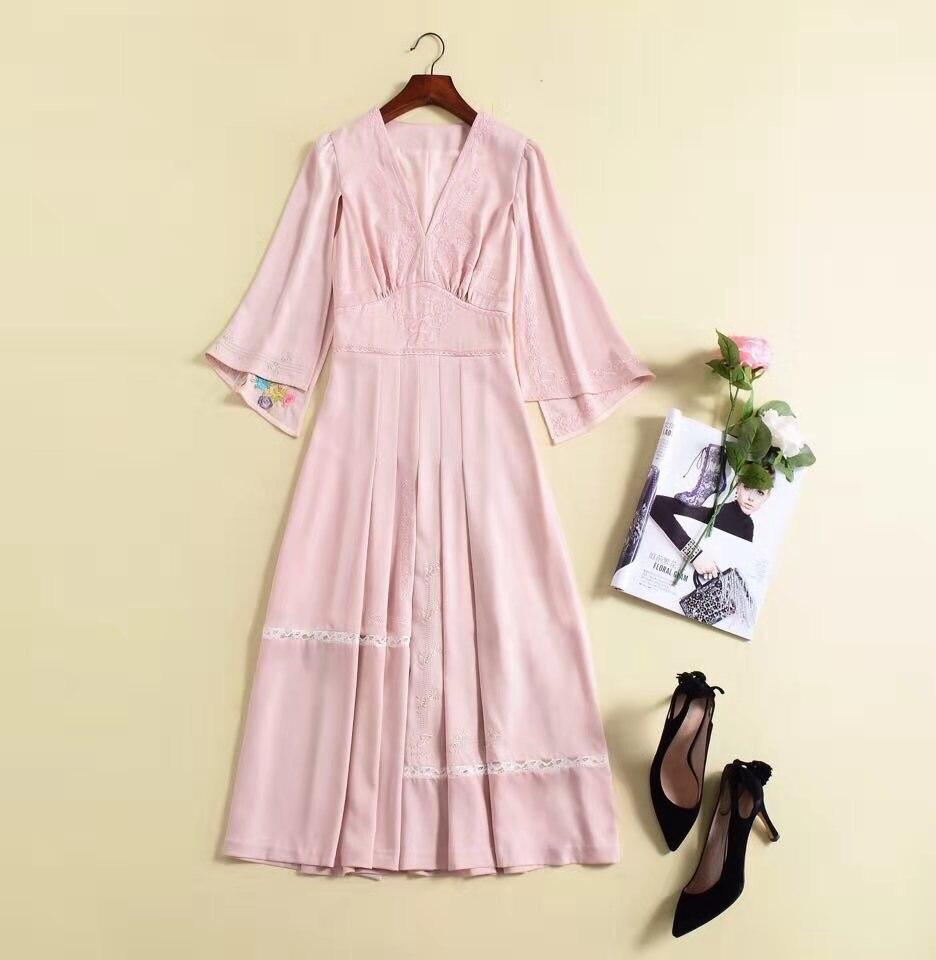Européenne Mode Nouvelle Printemps Partie Style 2019 Design Femmes Luxe De Robe Hfa02305 Célèbre Qualité Supérieure fPEpS