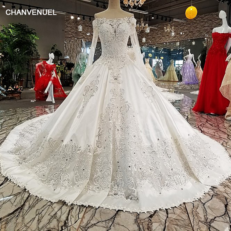 LS00228 wedding dresses see through back flower boat neck full lace ball gown cathedral train Luxury vestido de noiva real photo Платье