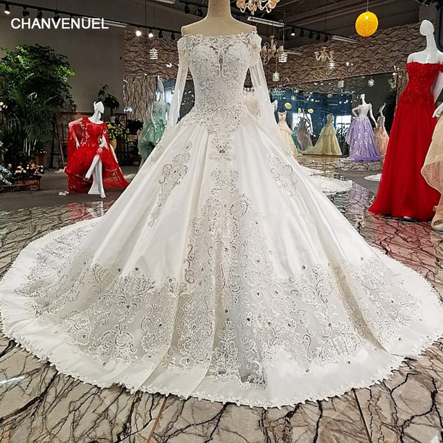 LS00228 wedding dresses see through back flower boat neck full lace ball  gown cathedral train Luxury vestido de noiva real photo 7aca3d881196