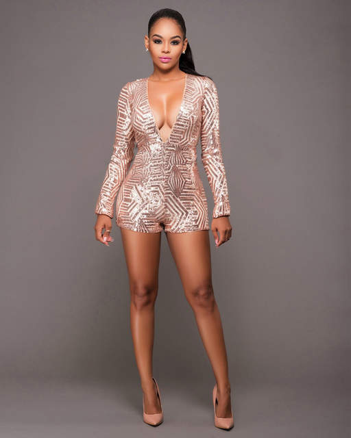 522bb28c4f Beyprern Sexy Deep V Neck Long Sleeve Sequin Rompers Womens Sexy Short  Jumpsuit Glitter Club Party Bodycon Jumpsuits Playsuit
