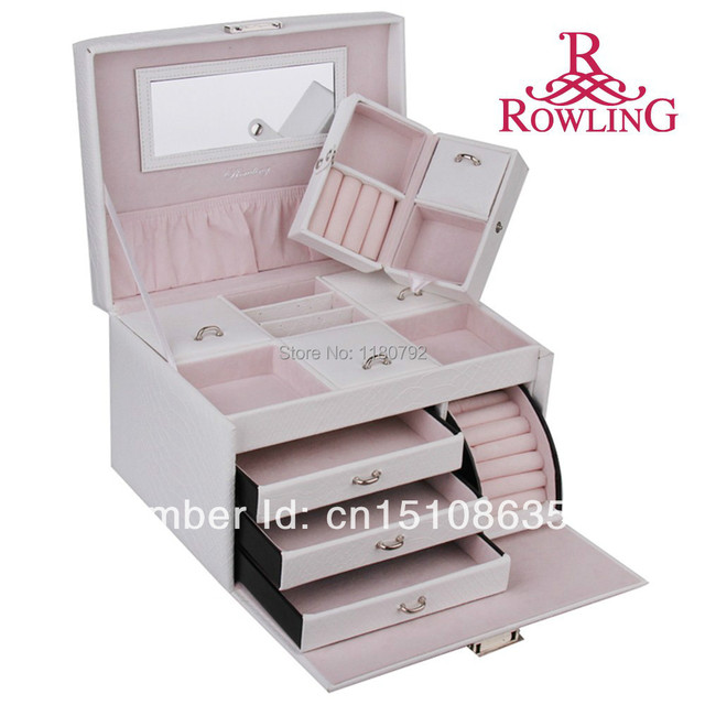 ROWLING Large White Jewelry Box Earring Ring Necklace Organizer