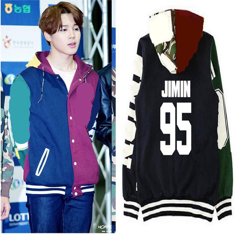 Kpop exo JIMIN uniforme de baseball sweat à capuche en coton manteau avec chapeau exo pare-balles JIMIN sweat à capuche pour homme Sweatshirts femmes k-pop hommes hauts