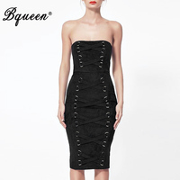 Bqueen 2017 New Arrival Strapless Sleeveless Fashion Lady Dress Slash Neck Knee Length Solid Black Bandage