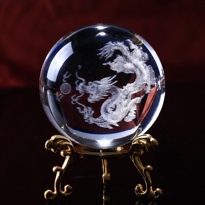 Home Decoration Crystal Dragon Ball 3D Laser Engrave Specimens Creative Feng Shui Glass Ball Globe Wedding Crystal Craft Gift