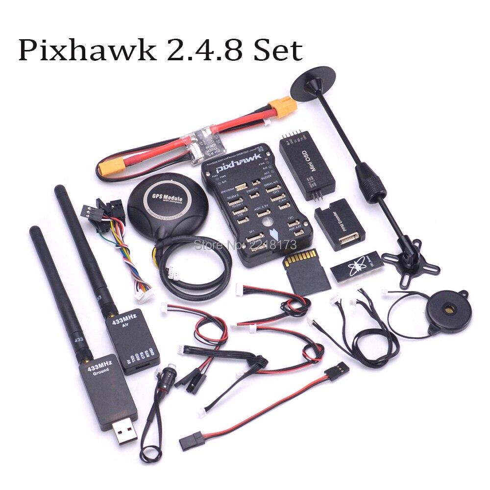 Pixhawk PX4 PIX 2.4.8 32 Bit Controllore di Volo 433/915 100 mw Telemetria M8N GPS Minim OSD PM di Sicurezza interruttore Buzzer PPM I2C