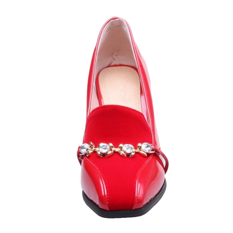 SJJH Woman Pumps with Square Toe 8 5cm High Chunky Heels Crystal Slip on Footwear Elegant Formal Working Shoes Large Size A030 in Women 39 s Pumps from Shoes