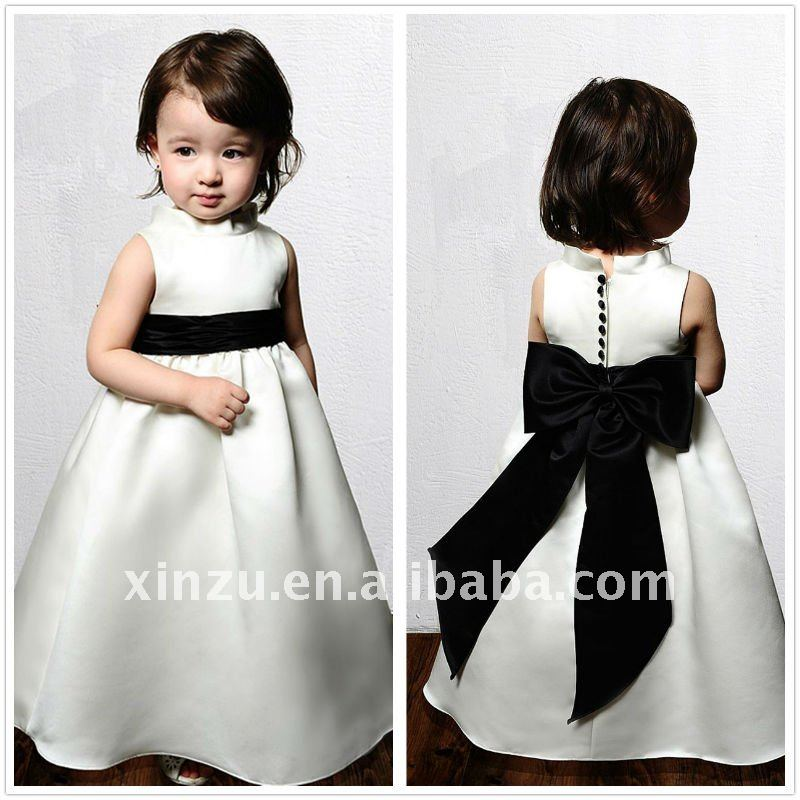 f2c6328d654 Christmas High Collar A line Satin with Black Sash Bowknot Flower Girl Dress-in  Flower Girl Dresses from Weddings   Events on Aliexpress.com