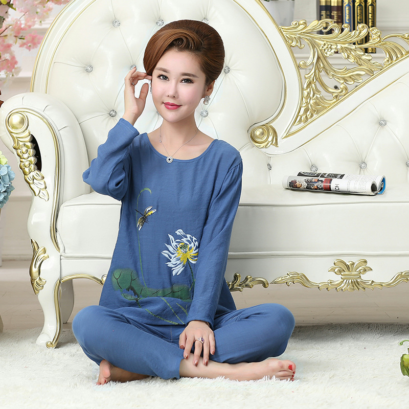 699d0b8e2 Fdfklak Women s Pajamas Spring Autumn Sleepwear Women Cotton Pijamas De  Mujer Cotton Linen Pijamas Plus Size XL XXL 3XL 4XL Q484