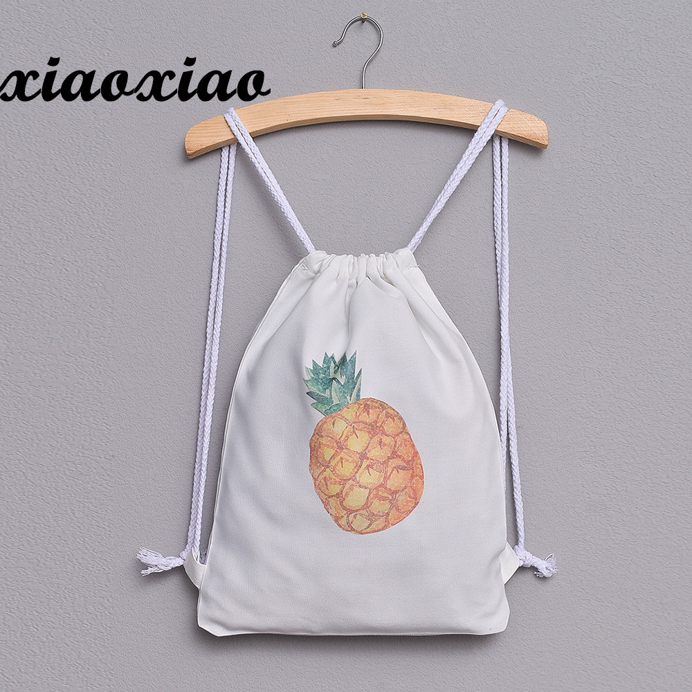 2018 Hot Sale Fashion Women Pineapple Print Drawstring Backpack Large Tote Canvas Backpack Bag freeshipping