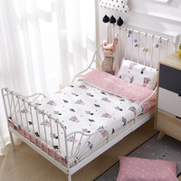 3 Pcs Baby Bedding Set Pure Cotton Woven Cartoon Crib Bed Linen For Children Include Duvet Cover Flat Sheet Pillowcase