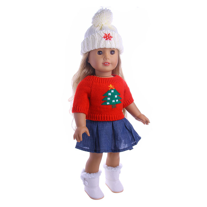 Two styles of new Christmas suits Wear fit 18 inch American Girl,43cm Baby Born zapf, Children best Christmas gift rose christmas gift 18 inch american girl doll swim clothes dress also fit for 43cm baby born zapf dolls