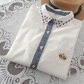 Новый 2016 Белая Блузка Корона Вышивка Карман Случайные Свободные Белая Рубашка Для Девочек С Длинным Рукавом blusas femininas T51283