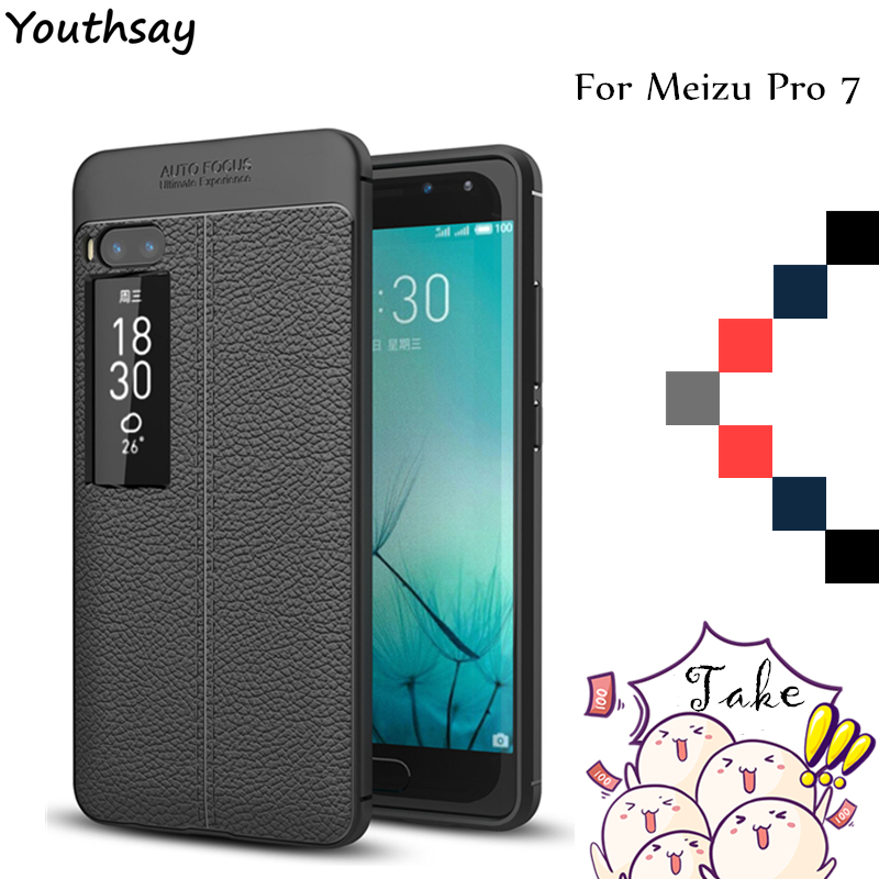 """Youthsay sFor Cover Meizu Pro 7 Case Litchi Pattern Back & TPU Phone Cases For Meizu Pro 7  Cover For Meizu Pro 7 Fundas 5.7"""""""