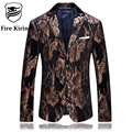 Fire Kirin Blazer Men 2017 Slim Fit Brown Black Mens Velvet Blazers Feather Pattern Stylish Blazers For Men Brand Prom Suit Q232
