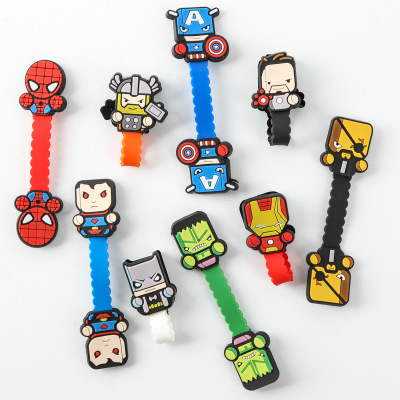 100pcs lot Multi function Avengers figures Cable Winder Headphone Earphone Cable Wire Organizer Cord Holder For