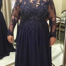 Платья для матери невесты размера плюс, темно-синие,, прозрачные, длинный рукав, бисер, кружево, шифон, длина до пола, женские вечерние платья