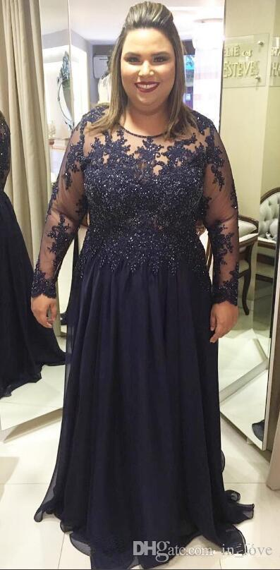 US $117.5 6% OFF|Plus Size Navy Mother of the Bride Dresses 2019 See  Through Long Sleeve Beads Lace Chiffon Floor Length Women Formal Gowns-in  Mother ...
