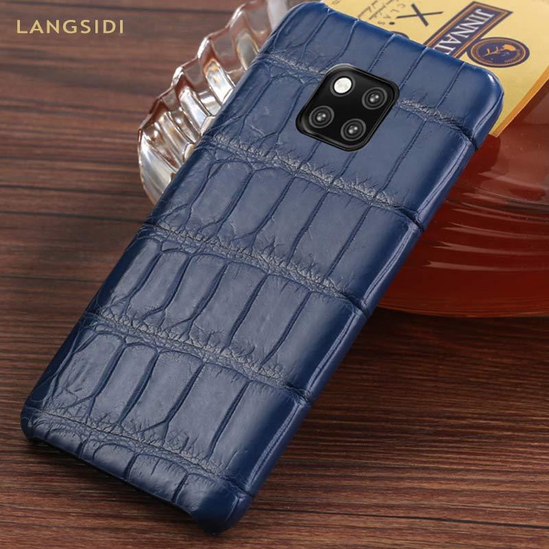 Cuir de Crocodile véritable antichoc téléphone étui pour huawei P20 P30 mate 20 Lite pro 360 étui de protection Pour honor 8x V20 20 Pro