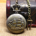 New men gift Sailing quartz boat ship pocket watch with short waist chain hour low price good quality retro vintage father P77C