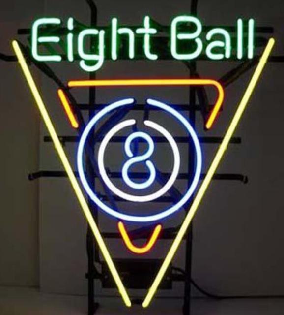 Custom Eight Ball Shop 8 Neon Light Sign Beer Bar