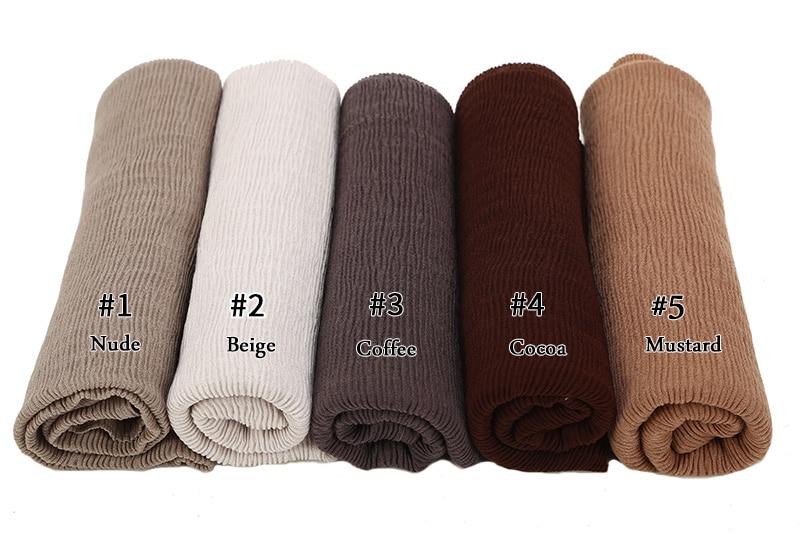 Image 2 - crinkle shawl fashion muslim hijabs women maxi scarf NEW Skin  pleated hijab scarf plain shawls islamic scarfs 20 color hot  saleWomens Scarves